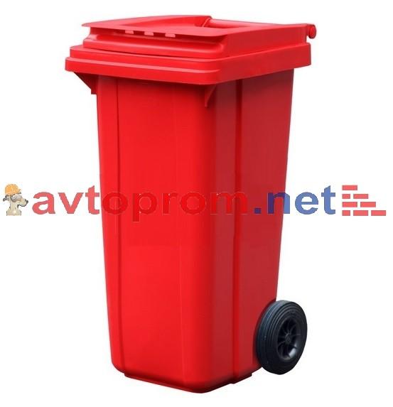 Мусорный контейнер 120л (красный), для бытовых отходов
