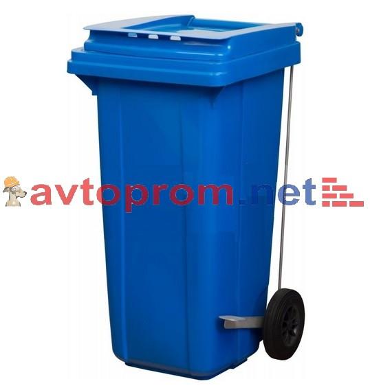Мусорный контейнер 120л (синий), для бытовых отходов